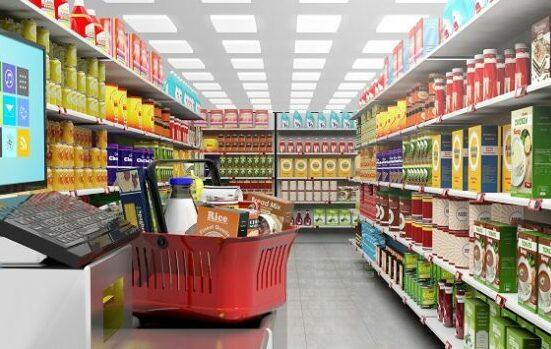 買い物かごとスーパー